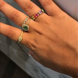 Snake and bulky multicolored ring